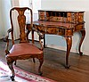 French style walnut and marquetry desk and associated chair. Width of desk 108cm