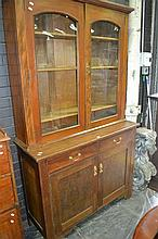Oak and Pine Bookcase With Four Doors And Two Drawers