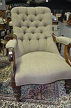 19th Century Cedar Armchair Upholstered In Grey Linen. Sourced in South Australia