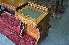 Victorian Burr Walnut Davenport Desk With Hinged Leather Top, Stationary Compartment And Panel Door Enclosing Four Drawers