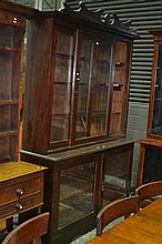 A late Victorian Cedar Bookcase with two glass panel doors below