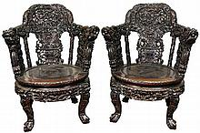 A Pair of Antique Chinese Late Qing Very Heavy Rosewood Armchairs