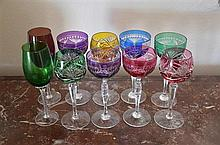 A Suite of 10 Harlequin Wine Glasses -