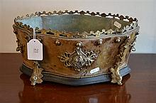 Antique French Burr Walnut Jardiniere with Dolphin Bronze Mounts -