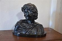 French Terracotta Bust of a Young Boy - Signed and with Foundry mark