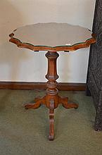 A Timber Glass Top Occasional Table with Shaped Glass Top -