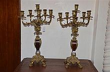 Pair of Antique French Rococo Style Bronze Five Light Candelabra -