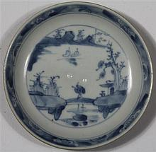 SMALL CHINESE BLUE AND WHITE 'NANKING CARGO' SAUCER DISH, CIRCA 1752