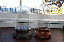 Pair of Small Glass Domes -