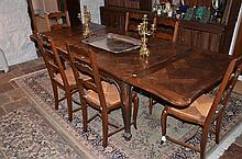French Oak Draw Leaf Extension Dining Table -