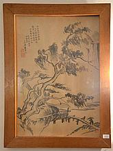 Chinese Antique Watercolour with Inscription of Seal to Upper Left - 55 x 37 cm