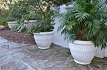 4 Large Matching Pots (2 Painted) -