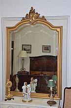 Antique French Carved Giltwood Louis XV Style Mantle Mirror -