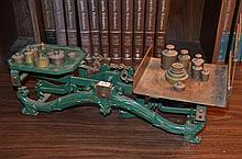Set of Antique 10 Kilogram Kitchen Scales and Weights -