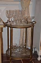 Two Tier Metal and Glass Tray Mobile with Assorted Glasses -