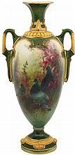 Royal Worcester Charles Baldwyn Hand Painted Vase