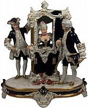 Royal Dux 'The Sedan Chair' Figure Group