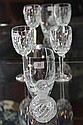 Baccarat Perfume Bottle, Waterford Pair of Wine Glasses & Lalique Tumbler