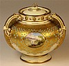 Coalport Jewelled Gilt & Ivory Three Handled Potpourri
