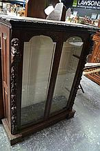 Late 19th Century Flemish Carved Oak Dwarf Bookcase, with two arched panel doors & carved fascia
