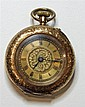 A 14CT GOLD LADY'S POCKET WATCH; gold dial with black Roman numerals, stem wind with push piece at 1 oclock. Size 13. Wt. 27.7g.