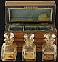 Fruitwood Cased Set of 3 Glass Perfume Bottles