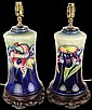 Pair of William Moorcroft Orchid Pattern Lamp Bases