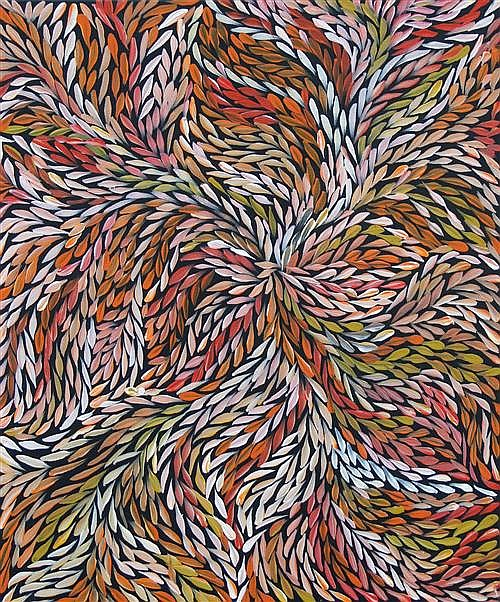 Jeannie Petyarre (c.1957 -) - Bush Medicine Leaves 71 x 59cm