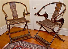 PAIR OF HUANGHUALI FOLDING HORSESHOE BACK ARMCHAIRS, 'JIAOYI', 19TH CENTURY