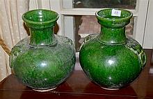 PAIR OF CHINESE GREEN GLAZED GLOBULAR JAR, POSSIBLY HAN DYNASTY