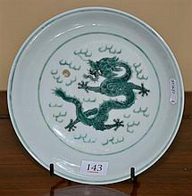 A GREEN DRAGON PLATE WITH DAOGUANG MARK (1821 - 1850)