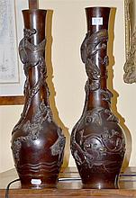 PAIR OF 19TH CENTURY CHINESE ANTIQUE BRONZE VASES H: 46 cm