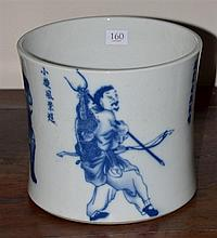CHINESE BLUE  & WHITE BRUSH POT DEPICTING FIGURES, XIANFENG MARKS H:18cm