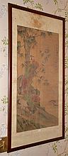 OLD FRAMED CHINESE PAINTING ON SILK, DEPICTING A PHOENIX, BIRDS AND DUCKS IN PLAYING SCENE, ARTIST SIGNED AND SEALED, QING DYNASTY