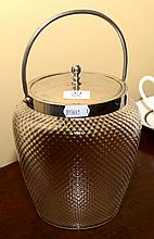 AN ART DECO DIMPLED GLASS BISCUIT BARREL WITH PLATED FITTINGS