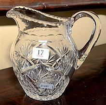 A FANCY HAND CUT LEAD CRYSTAL WATER JUG