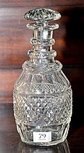 AN EARLY VICTORIAN HAND CUT LEAD CRYSTAL TRIPLE RING NECK DECANTER