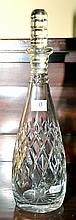 AN ENGLISH WEBB CORBETT TALL HAND CUT LEAD CRYSTAL DECANTER