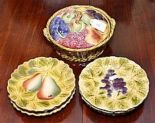 FRENCH SARREGUEMINES MAJOLICA 7 PIECE SERVICE