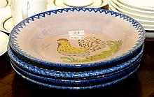 SET OF FIVE FRENCH FAIENCE PLATES DECORATED WITH ROOSTERS