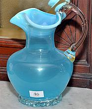 A VICTORIAN BLUE VASELINE GLASS WATER JUG