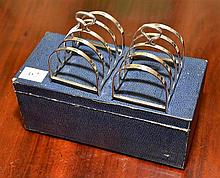 A PAIR OF AUSTRALIAN HALLMARKED STERLING SILVER RACKS FOR HARDY BROTHERS, SYDNEY