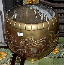 A LARGE & HEAVY CHINESE BRASS FLORAL EMBOSSED JARDINERE