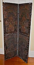A TWO PANELLED VICTORIAN PRIVACY SCREEN, HAND PAINTED
