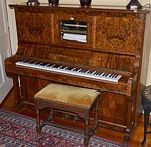 WALNUT VERNEER PIANOLA BY RAINSDORF, LEIPZIG. WITH STOOL.