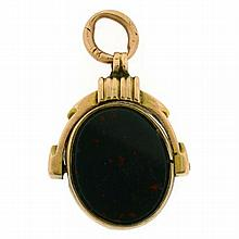 EARLY VICTORIAN 9CT GOLD BLOODSTONE AND AGATE SWIVEL
