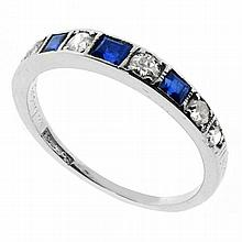ORIGINAL ART DECO 18CT WHITE GOLD & PLATINUM SAPPHIRE & DIAMOND BAND