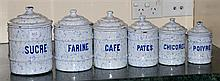 FRENCH VINTAGE KITCHEN ENAMEL CANNISTER SET