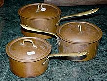 A SET OF GRADUATED BRASS AND COPPER SAUCEPANS