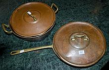 A PAIR OF ANTIQUE BRASS AND COPPER PANS